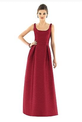 Alfred Sung D565 Long Scoop Neck Dupioni Bridesmaid Dress