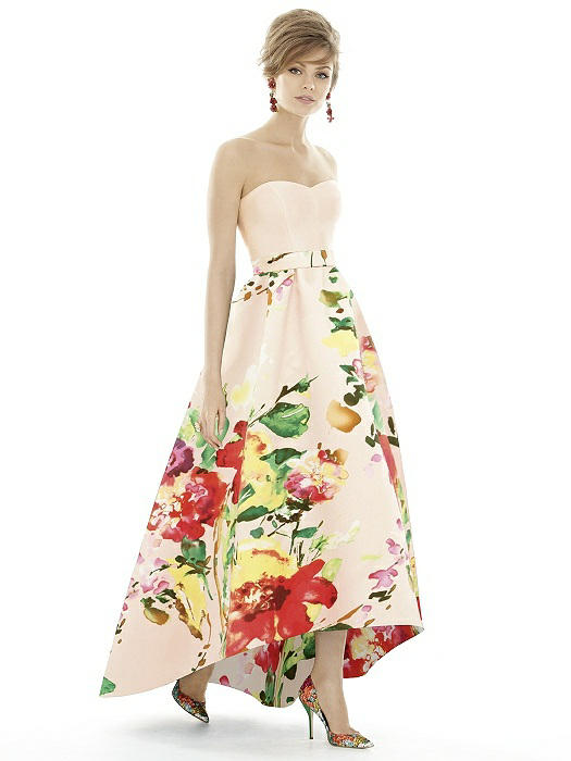 44f48a4e30537 Alfred Sung D699CP Floral High Low Bridesmaid Dress: French Novelty