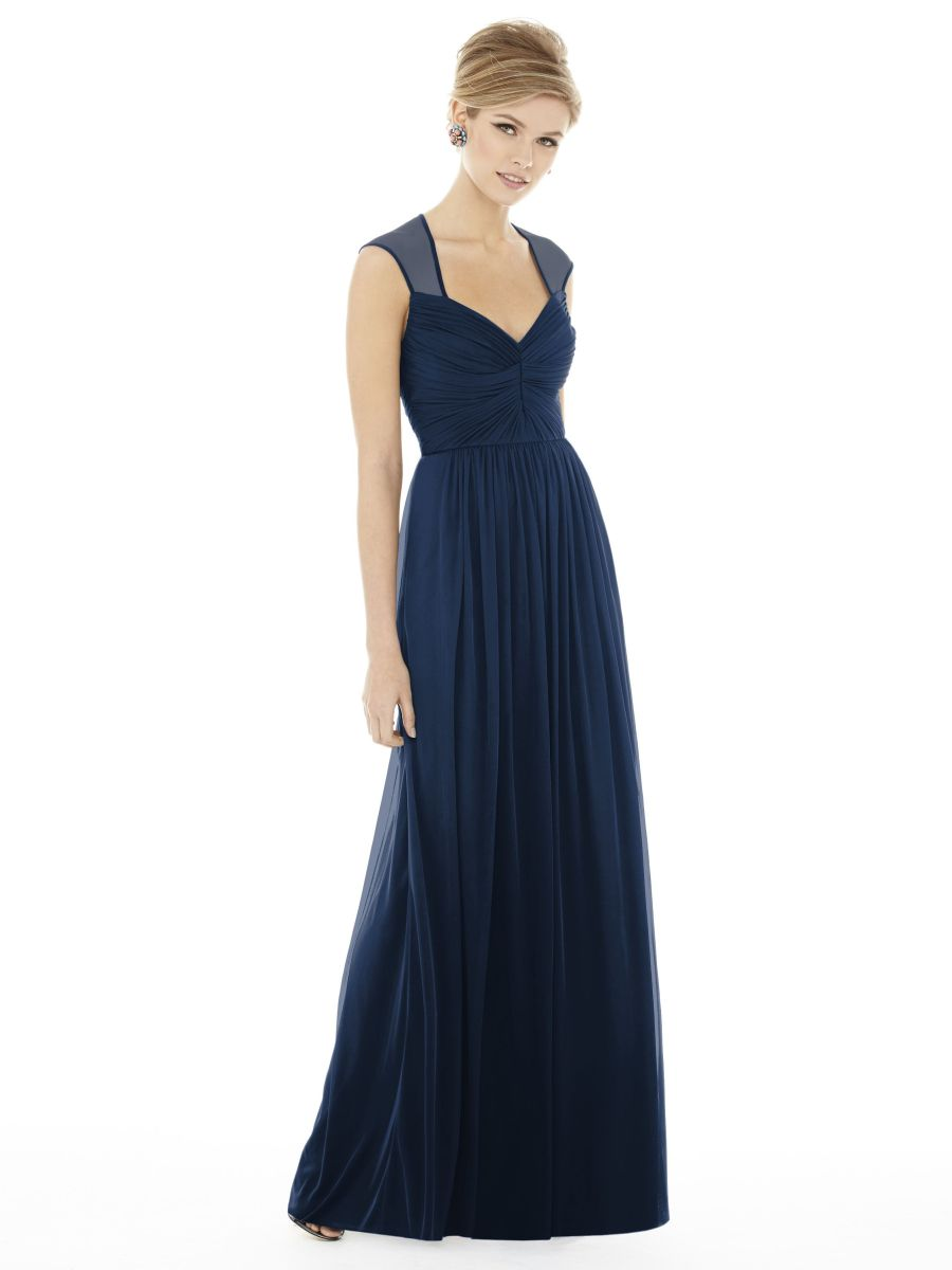 alfred sung d705 long chiffon knit bridesmaid dress french novelty. Black Bedroom Furniture Sets. Home Design Ideas