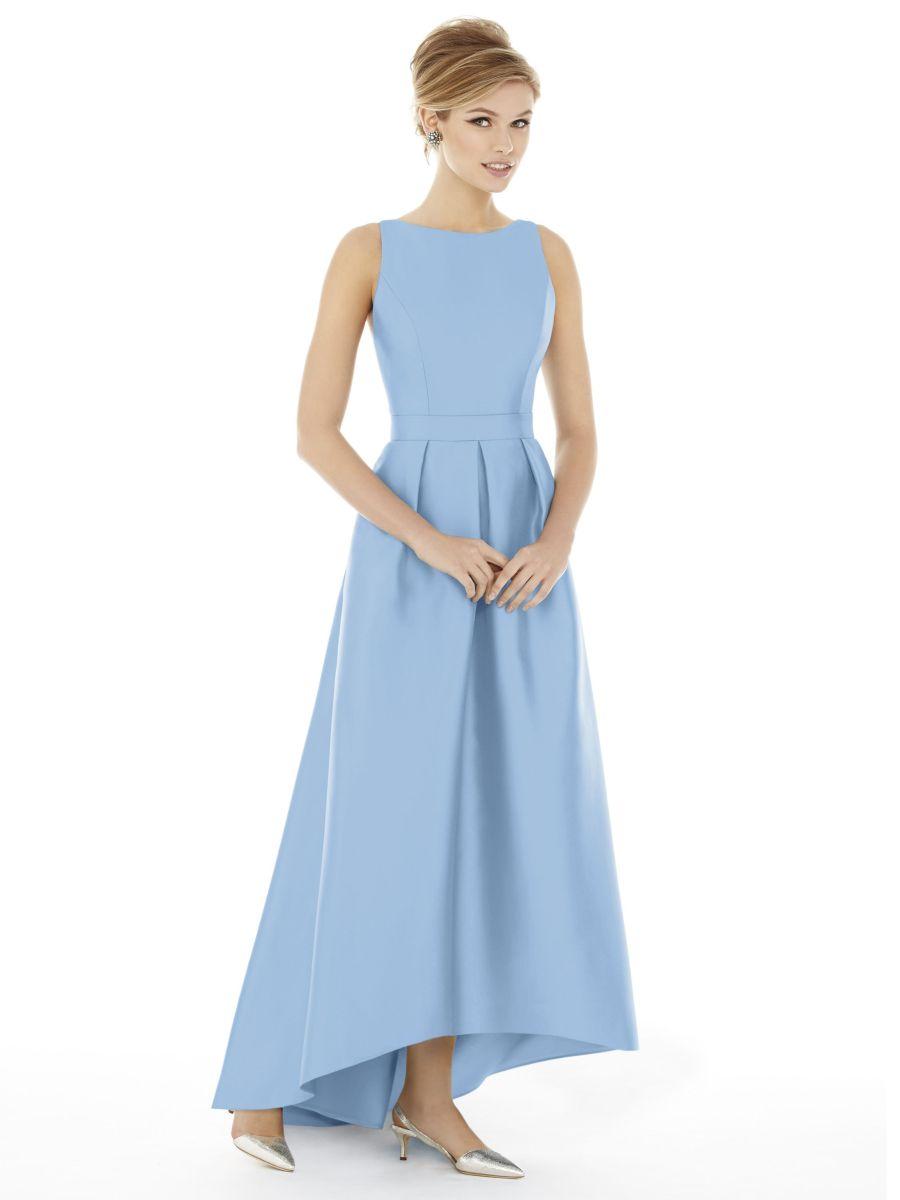 alfred sung d706 hi low long bridesmaid dress french novelty. Black Bedroom Furniture Sets. Home Design Ideas