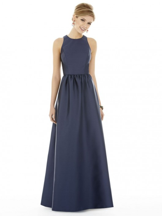 Alfred Sung D707 Sateen Twill Long Bridesmaid Dress: French Novelty