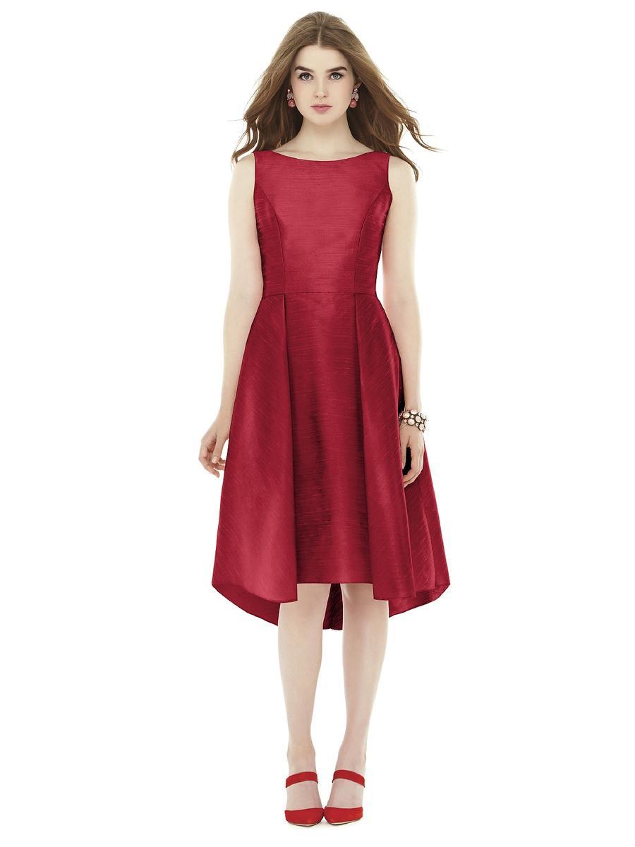 Alfred sung d708 midi length dupioni bridesmaid dress for Midi length wedding dress