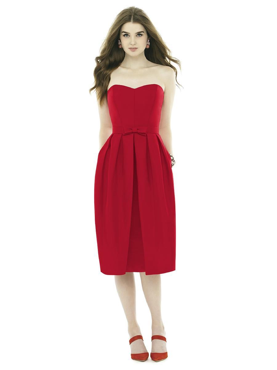 Alfred sung d717 midi length bridesmaid dress french novelty for Midi length wedding dress