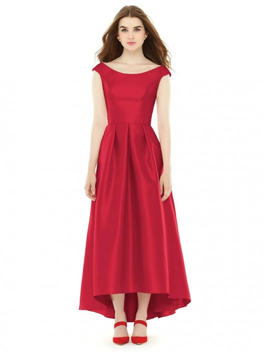Alfred Sung D722 Off Shoulder High-Low Bridesmaid Gown: French Novelty