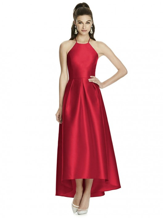 Alfred Sung D741 High Low Sateen Bridesmaid Dress: French Novelty