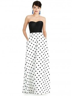 Superb Alfred Sung D748CP Bridesmaid Dress With Print Skirt Pictures Gallery