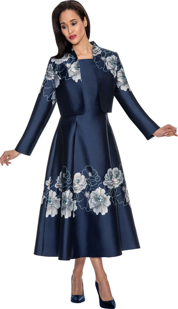 Nubiano Dn4022 Floral Jacket Dress French Novelty