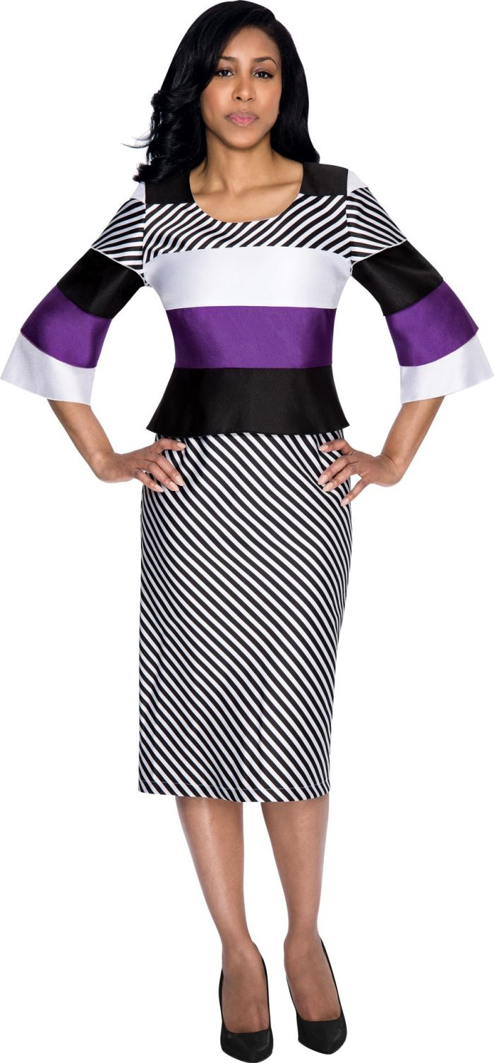 Nubiano DN4421 Color Block and Striped Church Dress ...