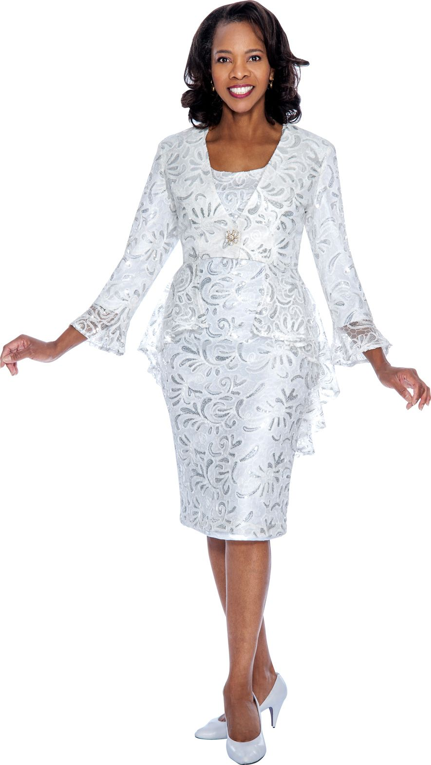 Nubiano DN4592 Sequin Lace Church Suit - French Novelty