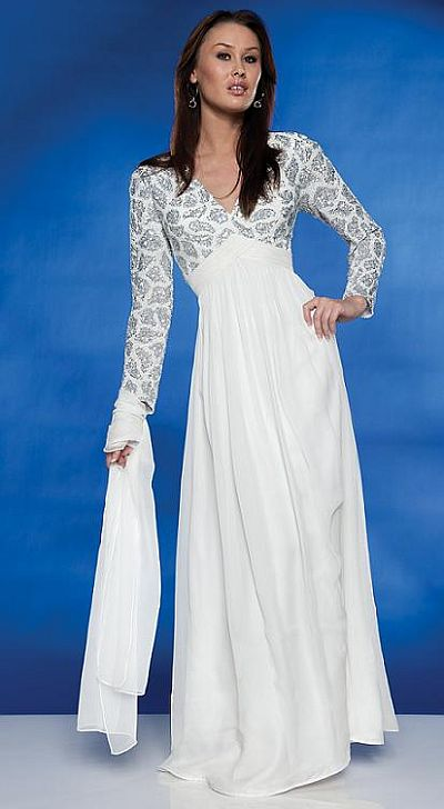 Wedding Gowns  Long Sleeves on Long Sleeve Destination Wedding Dress Scala Long Dress 47113 Image