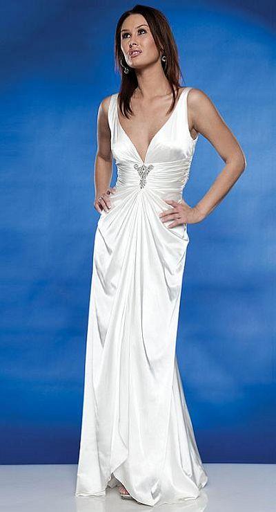 Destination Wedding Dresses Scala Long Deep V Neck Dress 7843 French Novelty