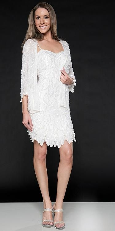 Beach Wedding Dresses Scala Short Embellished Dress 962537