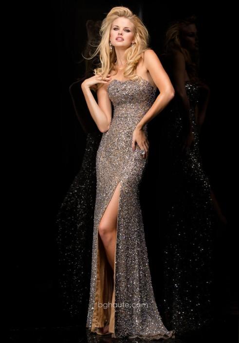 BG Haute E01015 Allover Sequin Prom Gown: French Novelty