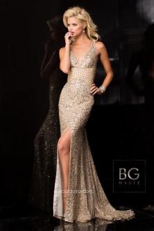 38c0aba8cb BG Haute E01017 Plunging V Neck Sequin Gown