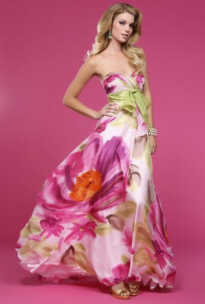 Bg Haute Green And Pink Floral Print Prom Dress E22101