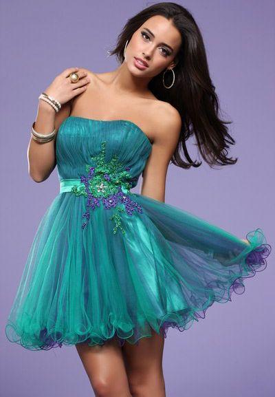 Short Colorful Prom Dresses - Black Prom Dresses