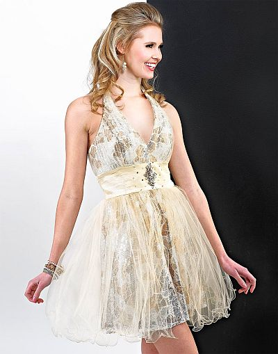 Landa Cream Sequin and Tulle Short Prom Dress ED347: French Novelty