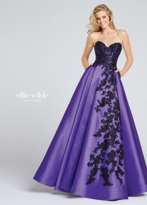f305d5fff9e Ellie Wilde for Mon Cheri EW117010 Embroidered Prom Dress  French Novelty