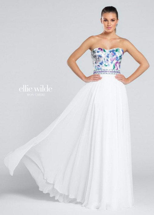 a8777fa6c41 Ellie Wilde for Mon Cheri EW117020 Embroidered Flowers Gown  French Novelty