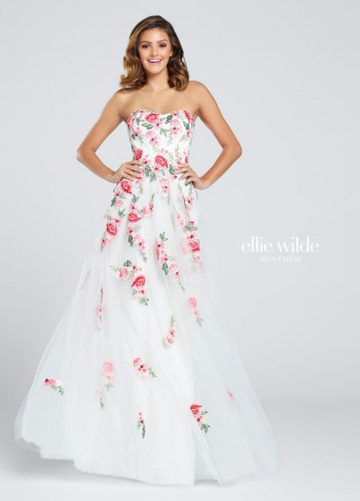 White Prom Dress with Flowers