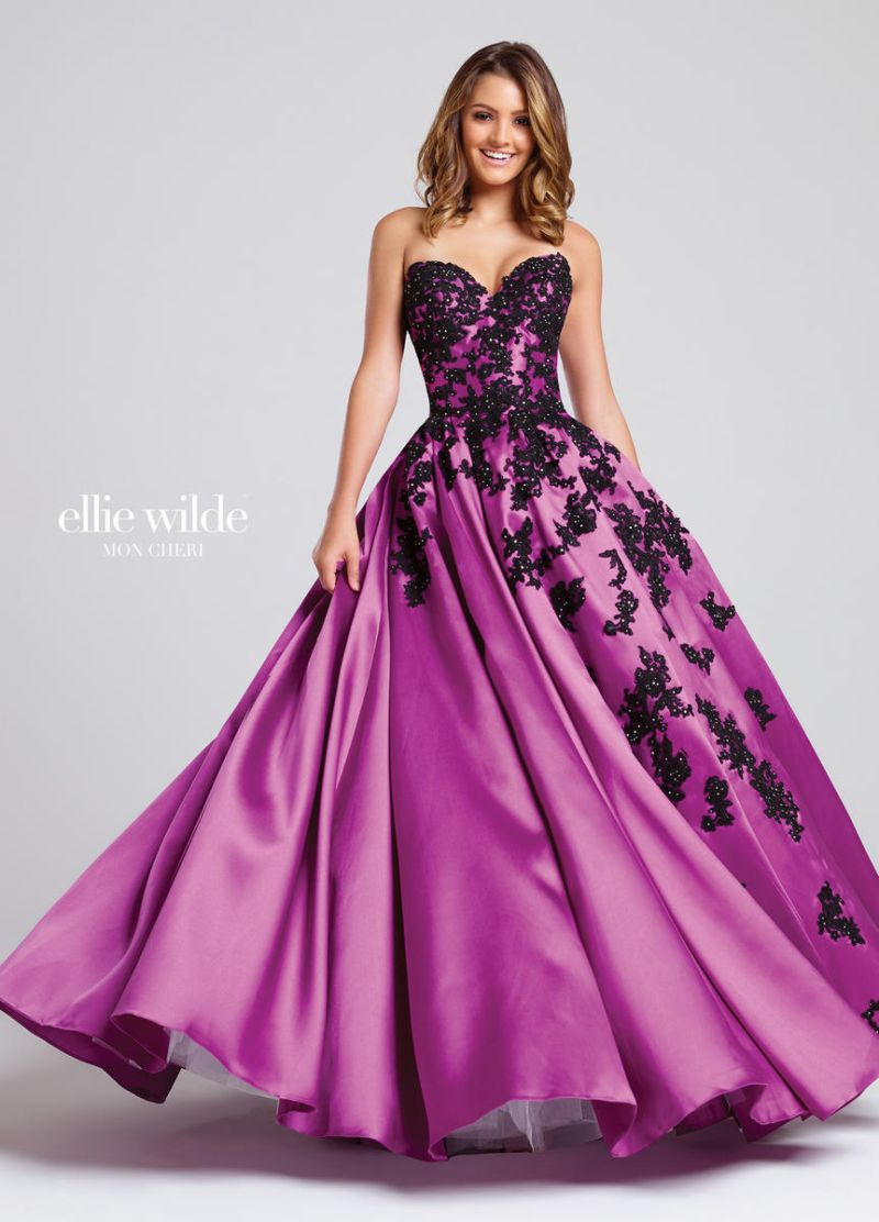 Ellie Wilde for Mon Cheri EW117038 Heat Set Stones Prom Dress ...