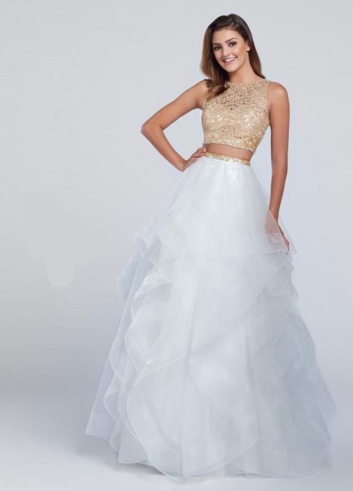 Size 0 White-Gold Ellie Wilde for Mon Cheri EW117156 Ball Gown ...