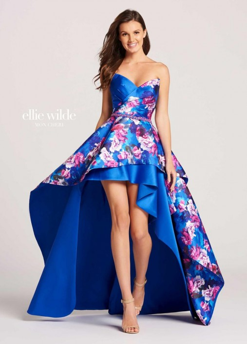 Mon Cheri Ellie Wilde EW118010 High Low Floral Prom Dress: French ...