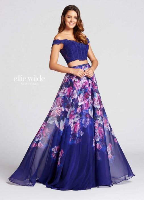 Size 0 Dark Purple-Multi Ellie Wilde for Mon Cheri EW118013 Prom ...