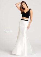 3662f5f0120 Size 00 Black-Ivory Mon Cheri Ellie Wilde EW118061 2pc Gown