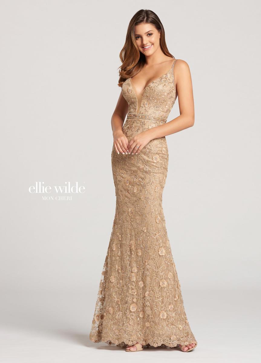 Mon Cheri Ellie Wilde Ew118126 Metallic Lace Gown French