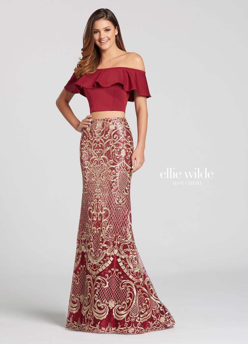 Ellie Wilde For Mon Cheri Ew118127 Off Shoulder 2pc Gown