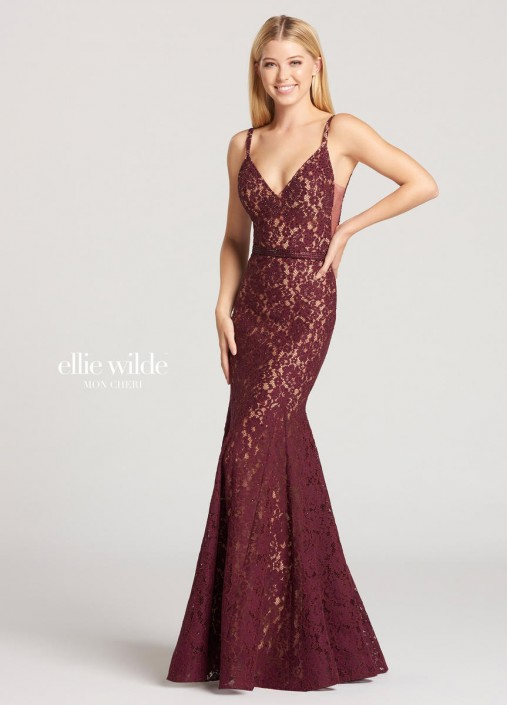 333ed62aafe Ellie Wilde for Mon Cheri EW118140 Lace Trumpet Gown  French Novelty