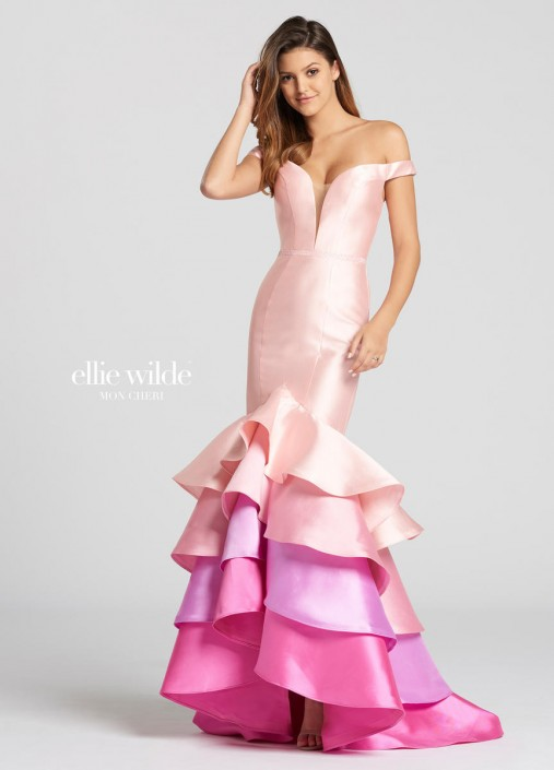 Mon Cheri Ellie Wilde Ew118163 Pastel Rainbow Mermaid Dress French