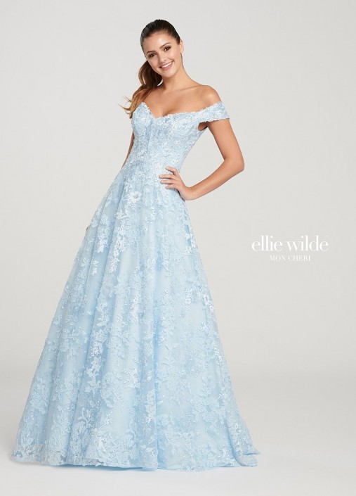 3fb09b721497 Ellie Wilde EW119009 Off Shoulder Embroidered Prom Gown  French Novelty