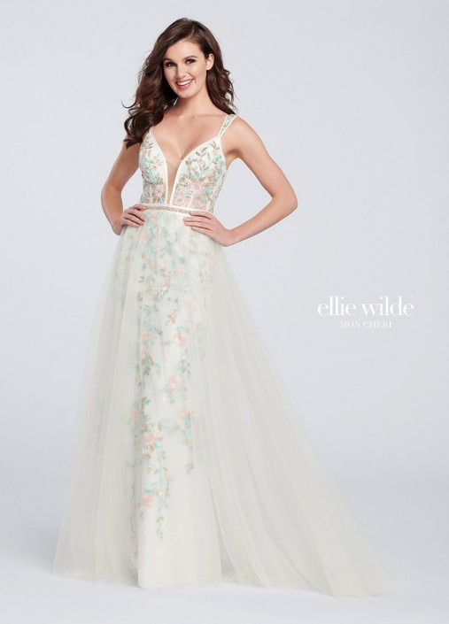 1d15a275abe Ellie Wilde EW119011 Pastel Prom Gown with Overlay  French Novelty