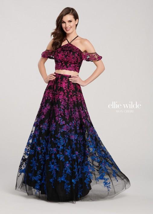 ab34cbf818b Ellie Wilde EW119055 Boho Ombre Floral Prom Dress  French Novelty