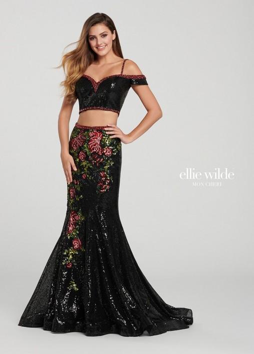 847b41df3a5 Ellie Wilde EW119086 Floral Sequin 2 Piece Mermaid Dress  French Novelty