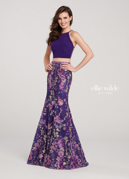 ba4d1308d7e Ellie Wilde EW119113 Floral Embroidered 2 Piece Prom Dress  French Novelty