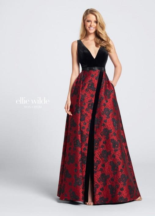 Ellie Wilde by Mon Cheri EW21721 Velvet and Jacquard Gown: French ...