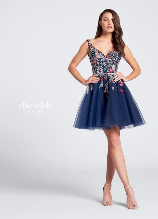 87a921a36ab Ellie Wilde EW21738S Short Floral Embroidered Dress  French Novelty
