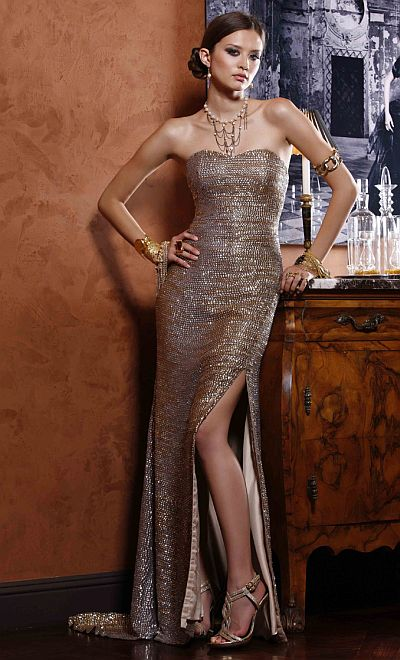 BG Haute Prom Dress with Metallic Sequin Neckline F04011: French Novelty