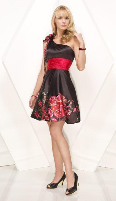 One Shoulder Floral Print Alyce Designs Cocktail Dress 4107 image