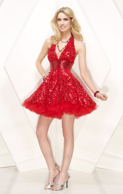 Tulle Sequin Halter Party Dress Alyce Designs Cocktail Dress 4124 image