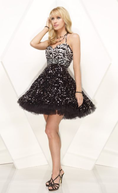 Alyce Designs Cocktail Zebra Pleated Sequin Party Dress 4125 image