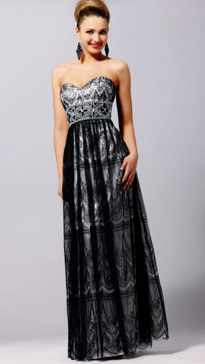 Lace Black and White Blush Prom Long Homecoming Evening Dress 9143 image