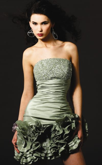 Beaded Pleated Sculpted Flowers Blush Prom Cocktail Dress 9160 image