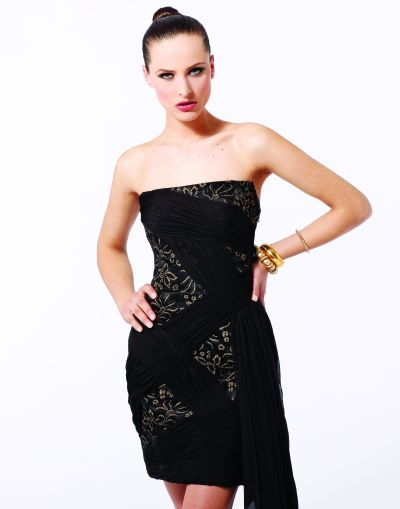 Black by Blush Prom Strapless Lace and Chiffon Cocktail Dress C009 image