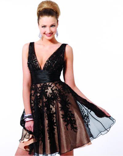 Black Nude Black by Blush Prom Lace Applique Short Party Dress C012 image