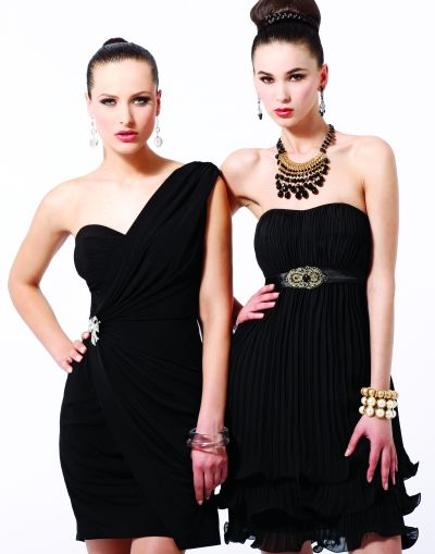 Alternate view of the Draped One Shoulder Black by Blush Prom Jersey Short Party Dress C018 image