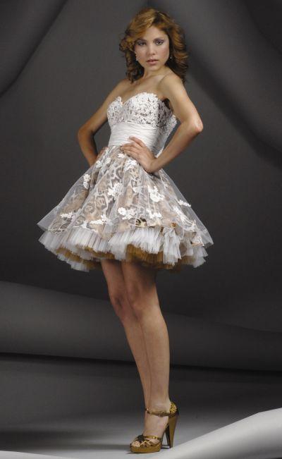 Beaded Lace Animal Print Flowers Jovani Short Party Dress